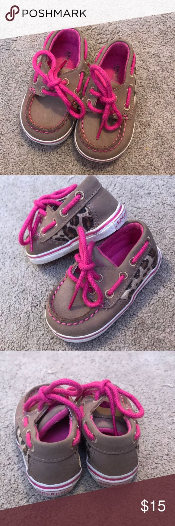 Infant size 2 Pink and Leopard Sperry's Size 2, Great Condition. Sperry Top-Sider Shoes Moccasins