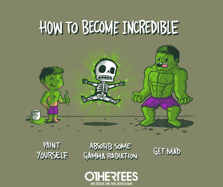 """""""How to Become Incredible"""" by IdeasConPatatas shirts, Tank Tops, V-necks, Sweatshirts and Hoodies are on sale until April 9th at www.OtherTees.com #Hulk #IncredibleHulk #marvel #comics #Avengers #OtherTees"""