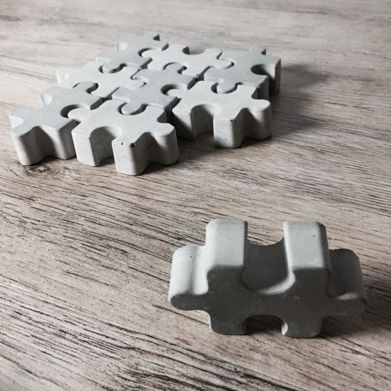 Concrete puzzle in 2 shades set of 9 as by ShabibiSheepWorkshop