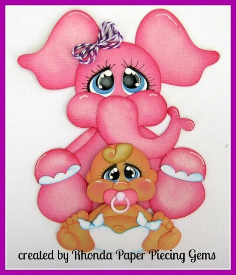 BABY GIRL W/ELEPHANT paper piecing for Premade Scrapbook Pages Die Cut Rhonda #Unbranded