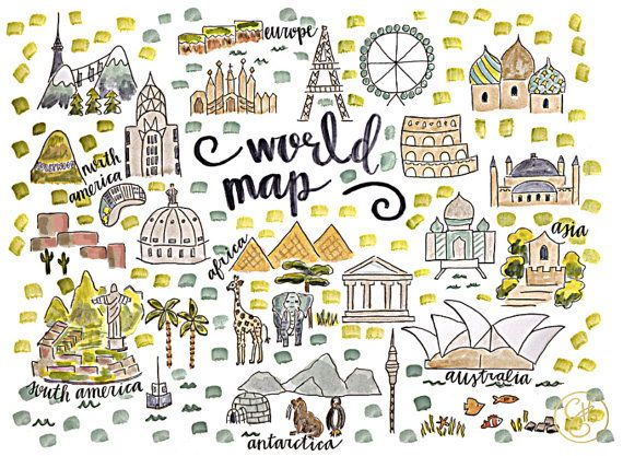 World Map Print by EvelynHenson on Etsy