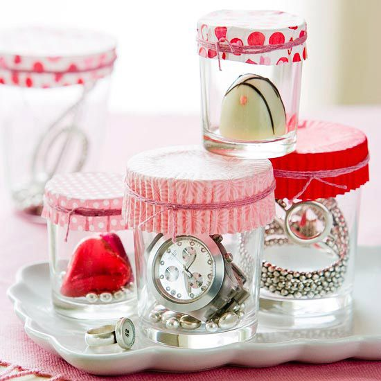 If your gift is small enough, place it in a votive holder, top with a paper muffin liner, and tie with a colorful string or ribbon.: Cupcakes Liner, Gifts Ideas, Valentines Gifts, Votive Holders, Gifts Wraps, Mason Jars, Small Gifts, Gifts Packaging, Cupcakes Wrappers