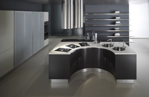 half circle kitchen island with artistic kitchen