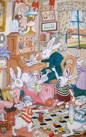 "Gilles Bachelet illustration for ""Madame Le Lapin Blanc""."