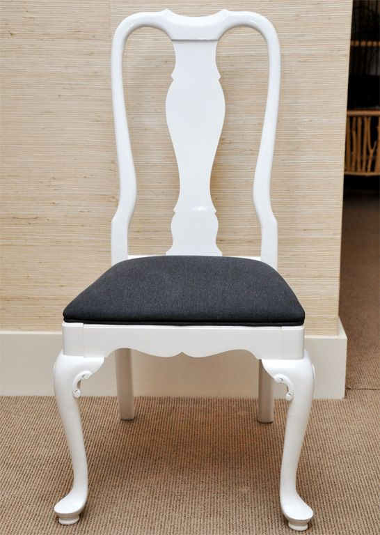 Six White Lacquer Queen Anne Dining Chairs