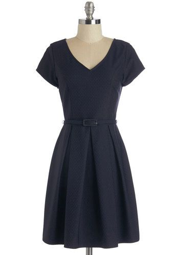 New York Weekend Dress - Belted, Work, Short Sleeves, Blue, Woven, Mid-length, Polka Dots, Pleats, A-line, V Neck