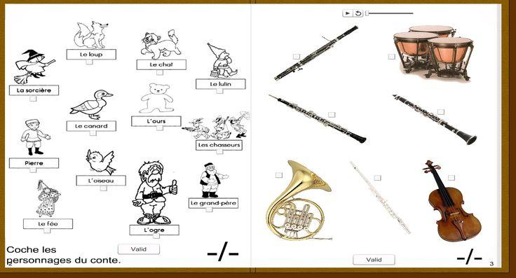 page d'exercices de reconnaissance de personnages et des thèmes musicaux
