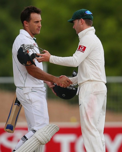 Match-saver Faf du Plessis (78 and 110 not out) shakes hands with Australian captain Michael Clarke (230). Don't forget the series decider starts in Perth Friday November 30. For more on Cricket in Australia, check out SLNSW's Discover Collection of the same name at http://www.sl.nsw.gov.au/discover_collections/society_art/cricket/index.html