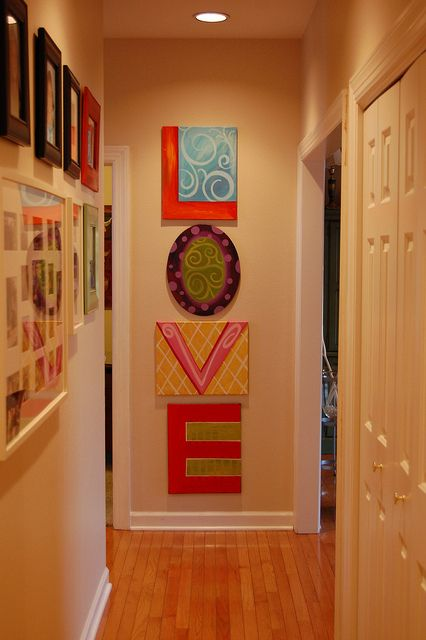 one letter per canvas to fill a wall.