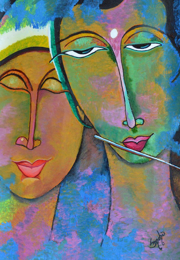 radha krishna as modern art with oil color