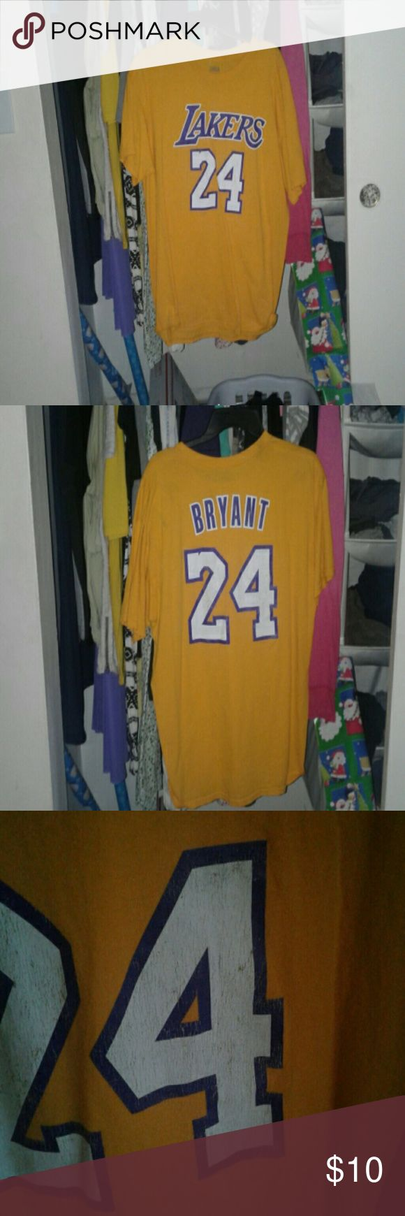 Men's Lakers shirt Men's kobe Bryant shirt. In I'm good condition. Does has some fading in the 24 as seen in pic 3. Size large. nba Shirts Tees - Short Sleeve