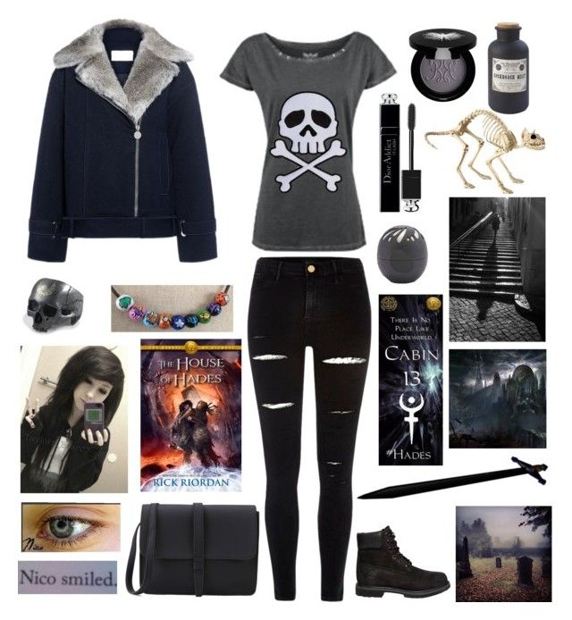 """""""Female Nico Di Angelo"""" by weredragon360 ❤ liked on Polyvore featuring Carven, River Island, Timberland, Home Decorators Collection, Christian Dior, Rouge Bunny Rouge, Eos and Improvements"""