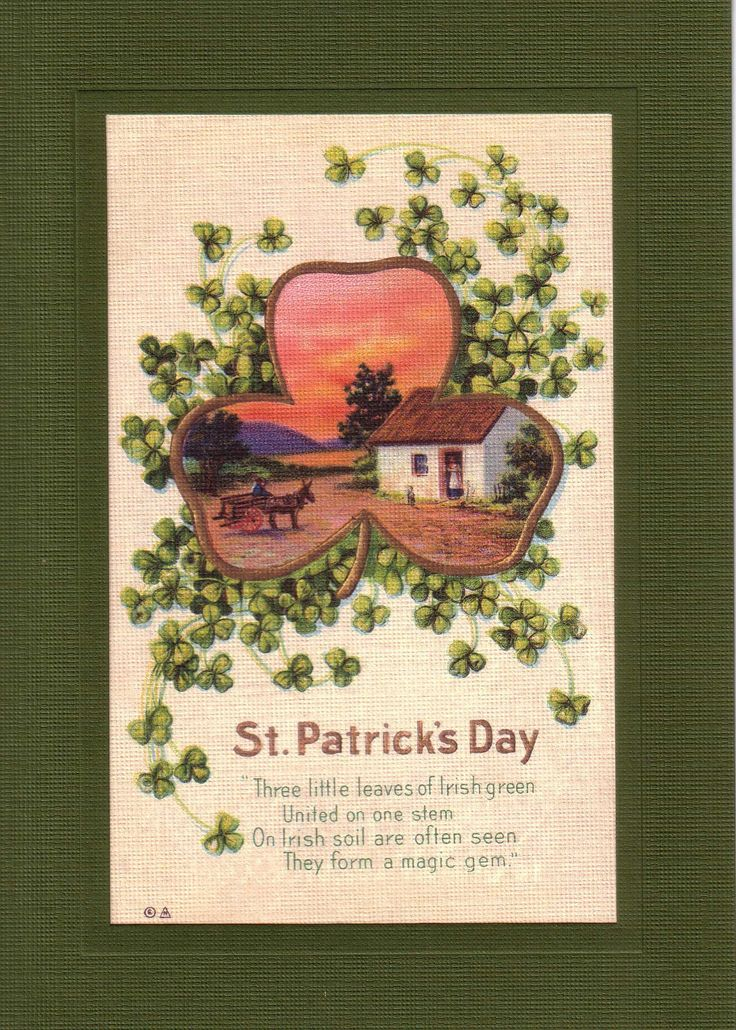 """Reproduced vintage postcards dating back to 1910, displaying quaint phrases or illustrations appropriate for a handful of special events: This card says: """" Three little leaves of Irish green United on"""