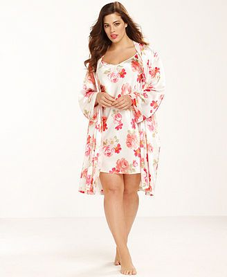 Morgan Taylor Plus Size Floral Ruffle Charmeuse Chemise and Wrap