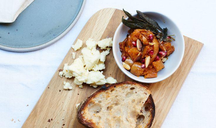 Butternut Squash Bruschetta with Pomegranate Recipe