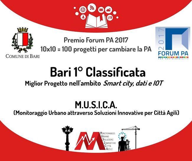 Forum PA 2017: Bari premiata per il miglior progetto nel settore Smart city dati e iot con M.U.S.I.C.A.