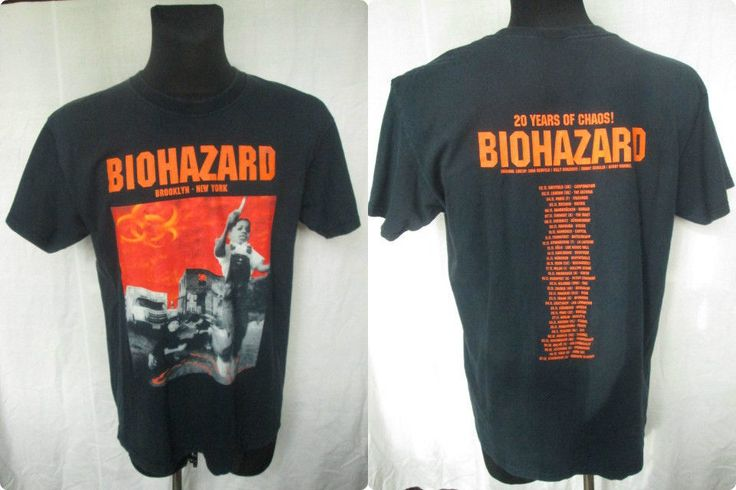 BIOHAZARD Band 20 Years of Chaos! Tour Concert Mens Black T-shirt Sz L Used #FruitoftheLoom #GraphicTee #biohazard