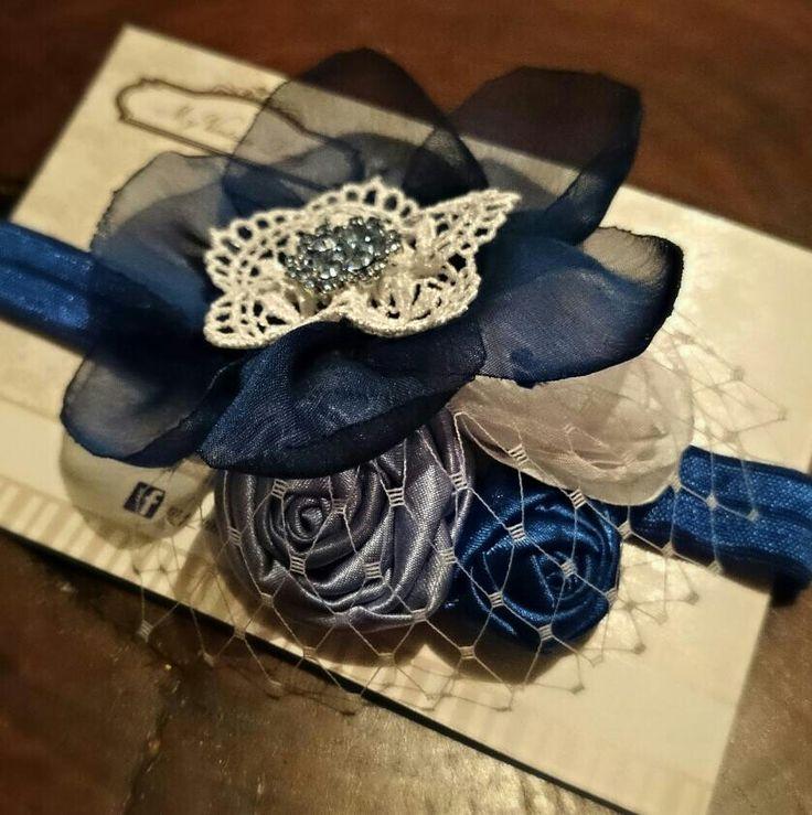 My Vintage Lady... Headband en combo de azules..