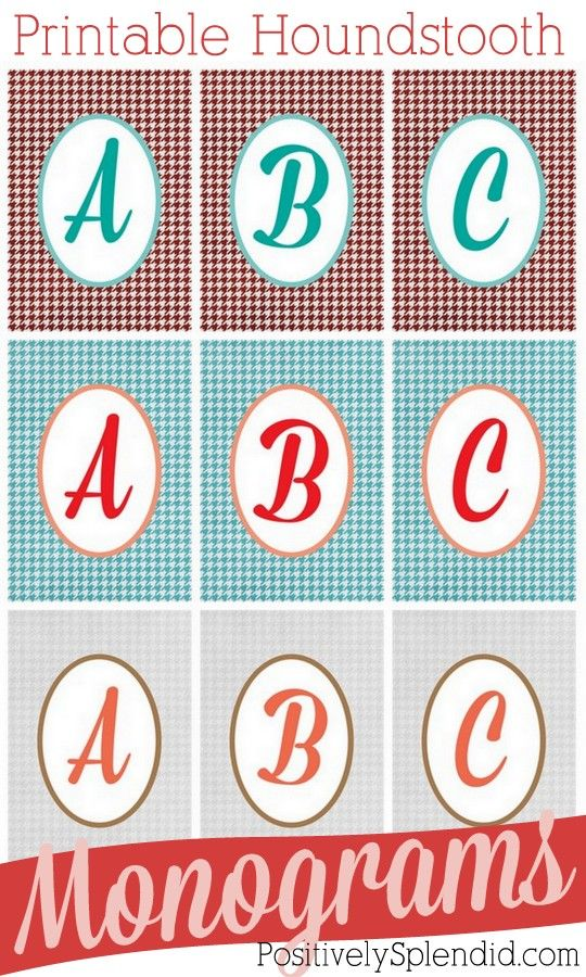 Free printable houndstooth monograms  in three different color schemes. Slip one of these into a pretty frame, and have an instant, personalized gift!: Personalized Gifts, Color, Printable Alphabet Letters, Houndstooth Letters, Printable Houndstooth, Free Printable, Printable Monograms, Houndstooth Monograms