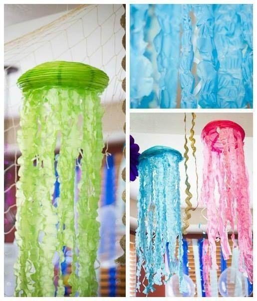 Превращаем обычные бумажные абажуры в фантастических медуз. Используйте идею для вечеринки.