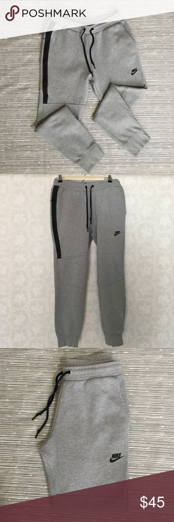 Nike Tech Fleece Joggers These tapered joggers are in great condition. They feature a zippered pocket on the left side to stash your belongings while your running or out and about. Nike Pants Sweatpants & Joggers