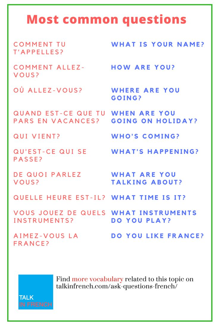 Learn the most common French questions + download the pdf and audio files for free. https://www.talkinfrench.com/ask-questions-french/