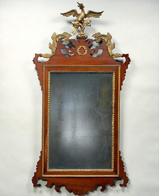 Looking Glass   Maker: Stephen Badlam (1751–1815)   Date: ca. 1780  Geography: New England, Dorchester, Massachusetts, United States  Culture: American  Medium: Mahogany, gilt