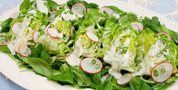 Boston lettuce and Mache with buttermilk dill dressing http://www.canadianliving.com/food/boston_lettuce_and_mache_salad_with_buttermilk_dill_dressing.php