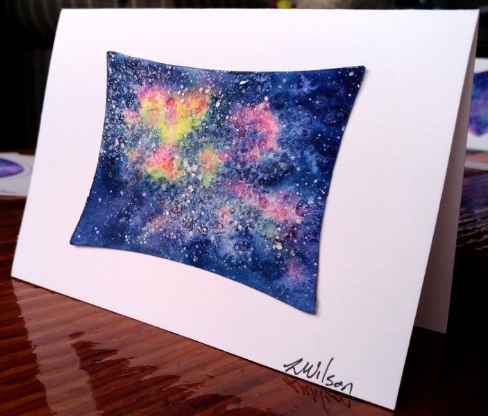 Watercolour Galaxy    This greeting card is a hand painted and signed original painting not a print. For a truly unique card for someone special. They come with an envelope and wrapped in a cellophane bag. Blank in side so perfect for any occasion | Shop this product here: http://spreesy.com/Goldstarwork/21 | Shop all of our products at http://spreesy.com/Goldstarwork    | Pinterest selling powered by Spreesy.com