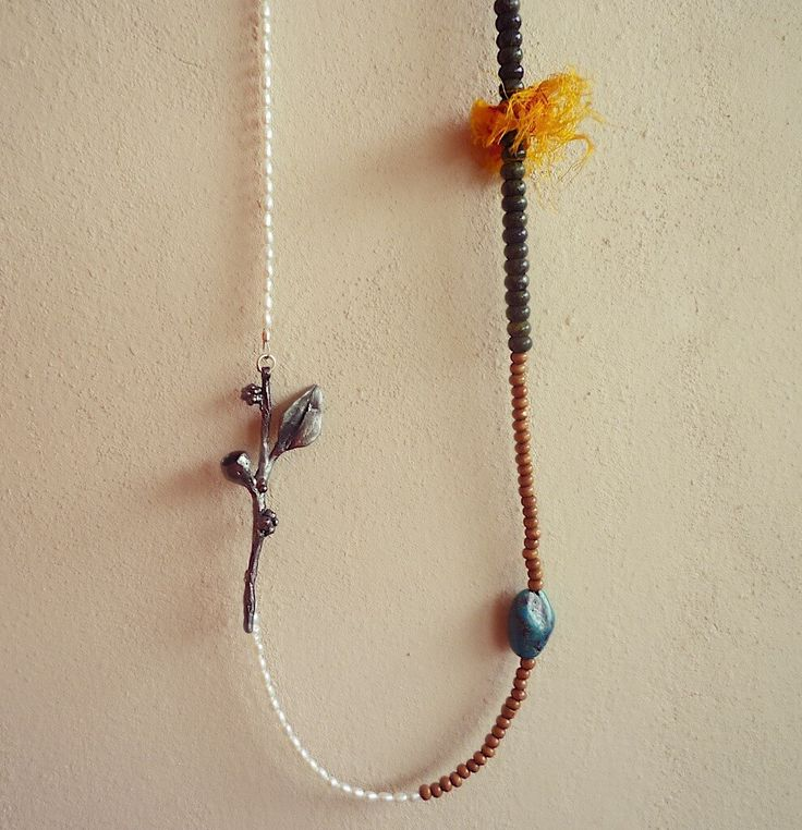OOAK Botanical Necklace with Pearls, Turquoise, Jasper & Wooden Beads