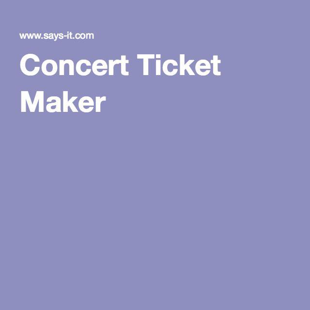 Concert Ticket Maker Breakout EDU Resources Pinterest Breakout