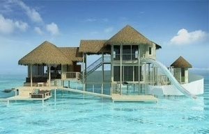 Beach house! Beach house! Beach house! by lelia: Dreams Vacations, Dreams Beaches House, Dreams House, Boathouse, Water Sliding, Beachhous, Waterslid, Maldives, Beaches Cottages