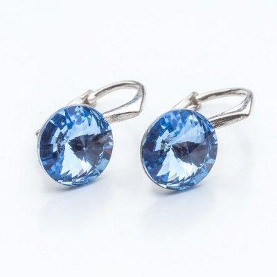 Swarovski Rivoli Earrings 8mm Light Sapphire  Dimensions: length: 1,7cm stone size: 8mm Weight ~ 1,85g ( 1 pair ) Metal : sterling silver ( AG-925) Stones: Swarovski Elements 1122 SS39 Colour: Light Sapphire 1 package = 1 pair