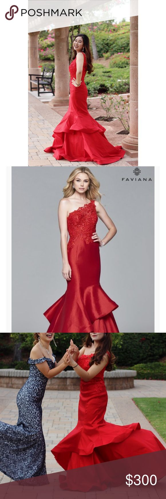 Faviana Red 7970 Dress - Gown GORGEOUS worn once (on a spacious cruise prom of small private school - around 200 people).   Dress alone is originally $378 but I Paid over $450 for the dress and shipping + service fee.  No alterations made. Original brand name size 8. Faviana Dresses Prom