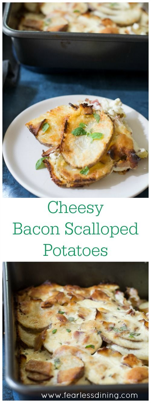 This Bacon Ricotta Cheesy Scalloped Potato Casserole is a delicious side dish that is so easy to make. Recipe at http://www.fearlessdining.com