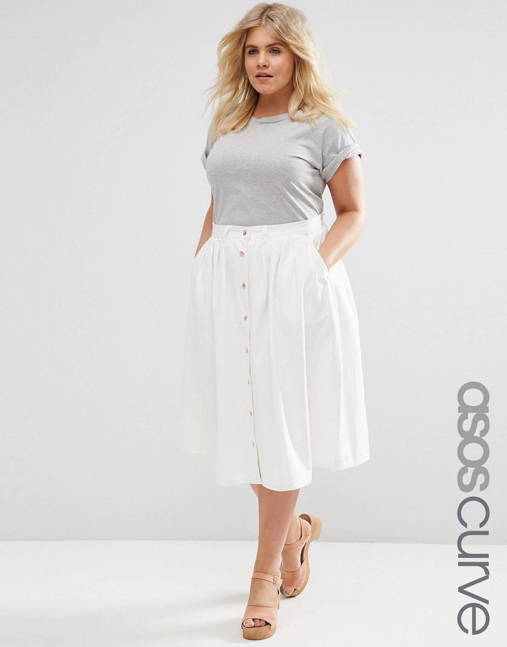 ASOS CURVE Denim Midi High Waist Skirt with Button Down Front