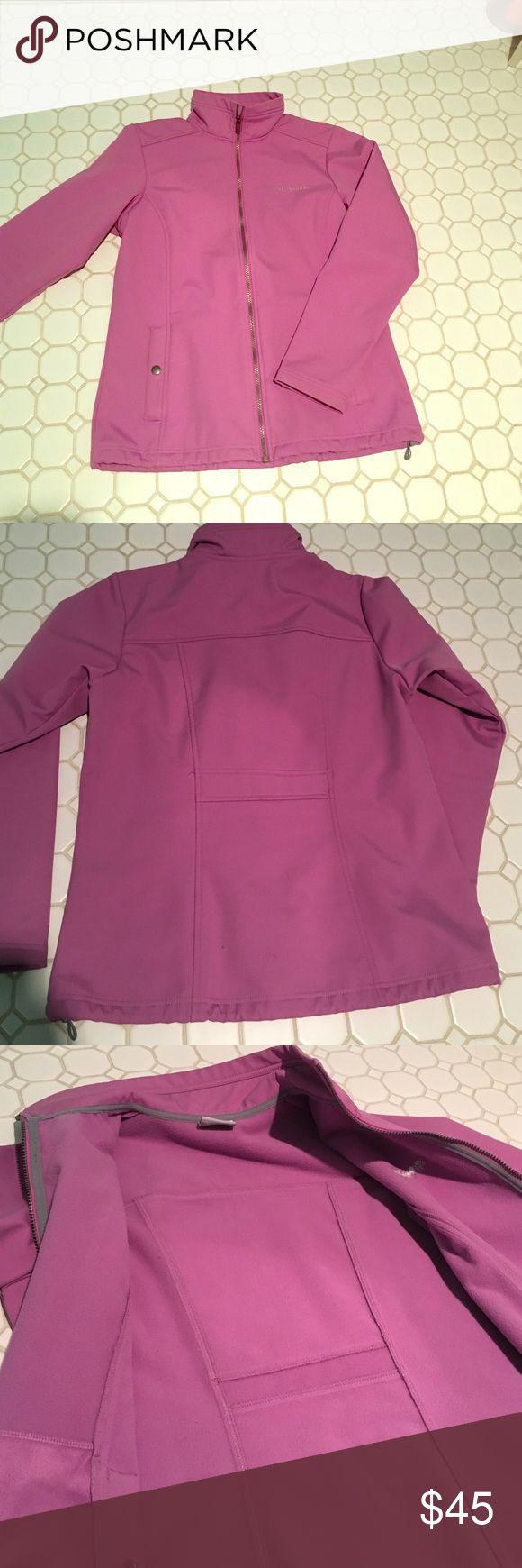 Columbia Coat Has the hard shell outside. It is a lighter purple. Has fleece lining the inside. Worn only a couple times. Perfect condition! Jackets & Coats