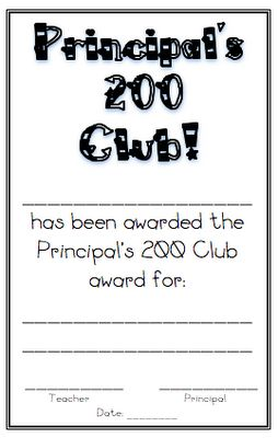 Principal's 200 club - rewarding positive behavior on a school-wide basis.   Great pin for all the great comments on the post as well!