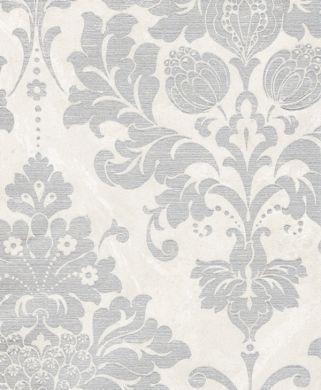 WALLPAPER - DAMASKS/SCROLLS - SILVER AND GREY - Satin Silver Damask Wallpaper - Classic Wallcoverings