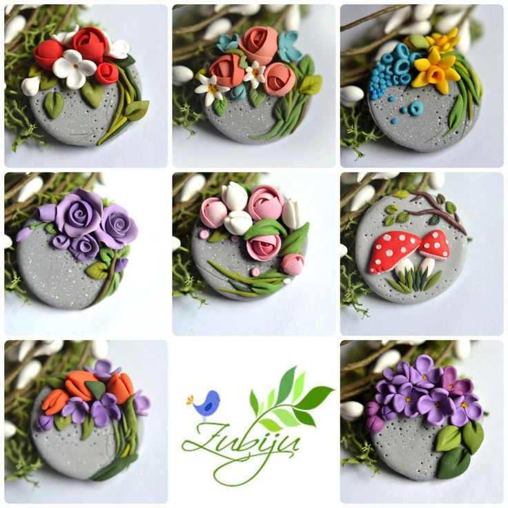 Polymer clay brooches by Zubiju.