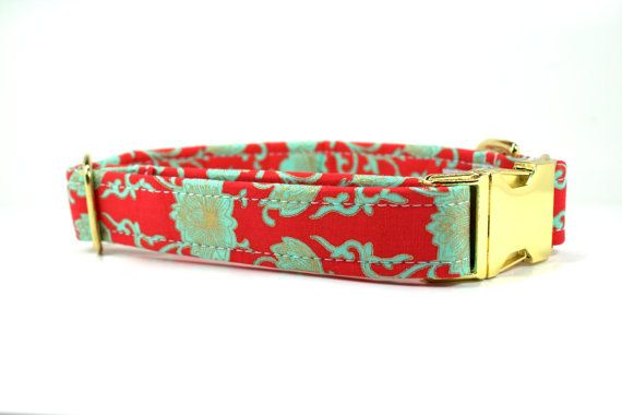 Girl Dog Collar | Red and Aqua Floral Dog Collar with Gold Metal Buckle | Female Dog Collar | Floral Dog Collar | Gold Dog Collar
