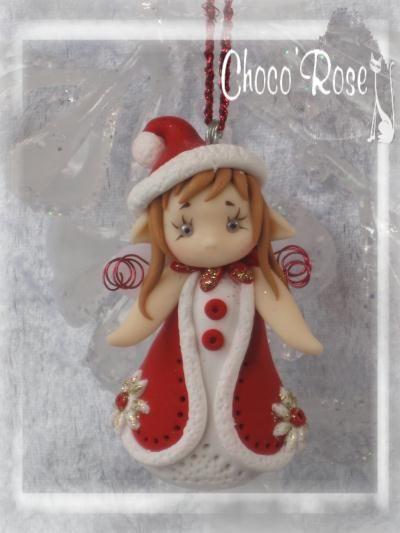 Création figurine de Noël en pâte Fimo : Rosy Fairy Aveleen à suspendre au sapin