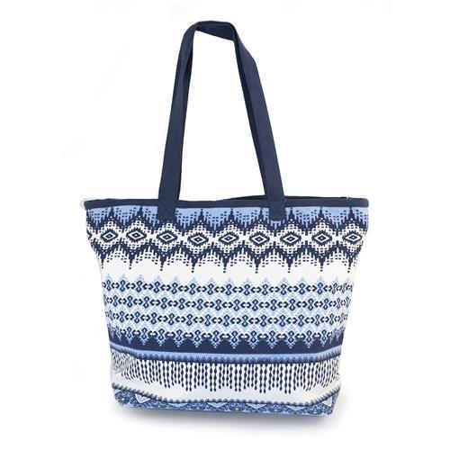 BORSA NIDABA - Capiente e graziosa borsa stampata con motivi geometrici nei toni del blu e fodera interna. Chiusura con zip. Composizione: 100% cotone.