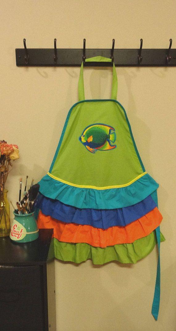 Appalachian Aproness' fish appliqué womens ruffle apron! https://www.etsy.com/listing/588251503/ruffle-apron-with-fish-applique