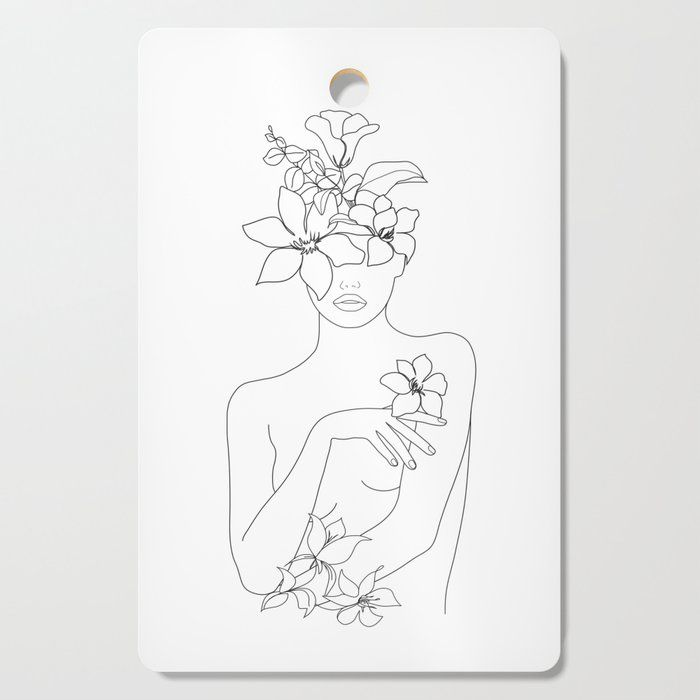 Minimal Line Art Woman With Flowers Iv Chopping Board By Nadja1 Drinkware Mugs Body Art