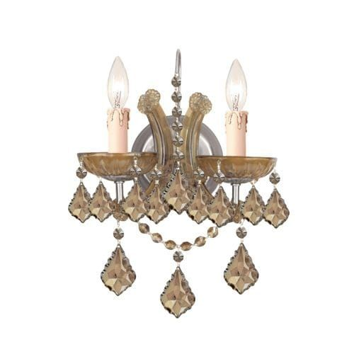 Crystorama Lighting Group 4472-CL Maria Theresa 2 Light 10-1/2 Wide Wall Sconce (antique brass / golden teak swarovski strass (Antique Brass/Golden Teak Swarovski Strass))