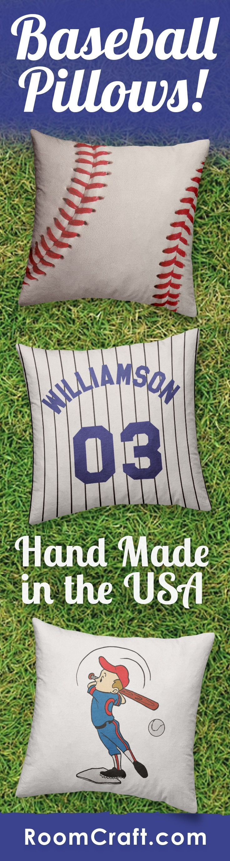 Score a home run with the athlete in your family with these baseball throw pillows. Our sports throw pillows are all offered in multiple fabrics, colors, and sizes making them the perfect addition to any bedroom, game room, or man cave. Our quality base ball pillow covers are made to order in the USA and feature 3 wooden buttons on the back for closure. Choose your favorite and create a truly unique pillow set. #roomcraft