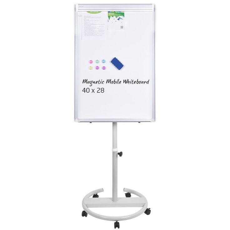 Magnetic Mobile Whiteboard - 40x28 inches Whiteboard on Wheels with Stand, Height Adjustable Dry Erase Easel Board Flipchart Easel Whiteboard with Marker Tray, 1 Eraser, 3 Markers, 6 Magnets