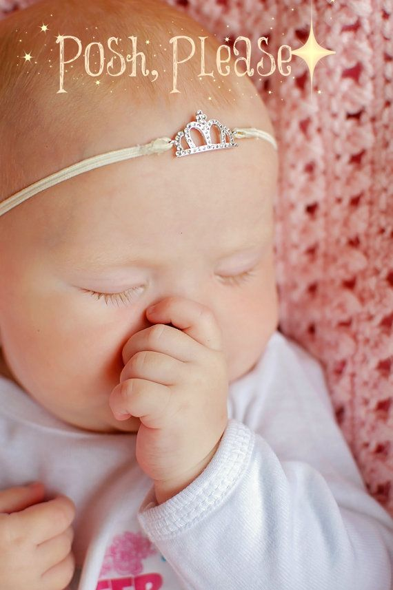 Newborn Crown Headband Princess Crown Newborn Girl by PoshPlease, $5.95