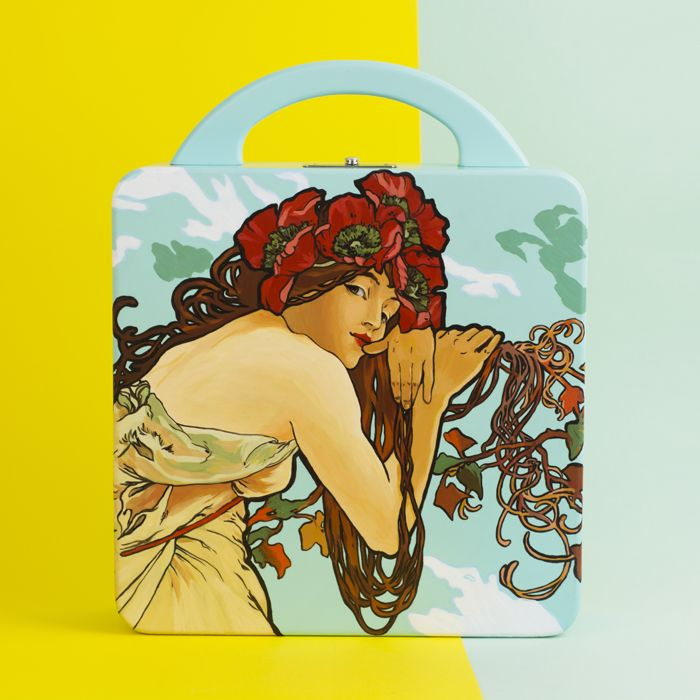 "Inspiration by  artist  Alphonse Maria Mucha ""Summer"". Bag is made of natural wood beech. Hand-painted with acrylics and polished. Interior of the bag made of cotton lining with 1 open compartment and 2 pockets. The top handle made of wood. Metallic silver-tone clasp fastening. Size of the bag - 25/25/7 cm. Shipping: 5 - 25 working days. World-wide courier delivery for free."